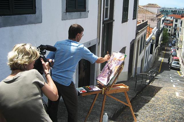 En tournage avec le peintre aquarelliste Patrick Fouilhoux à Madère (Portugal)